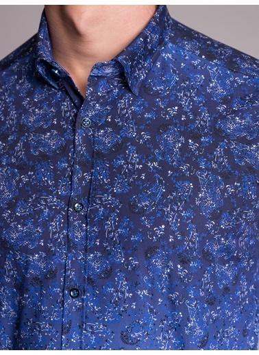 Dufy Grı Baskılı Pamuklu Erkek Gömlek - Ekstra Slım Fıt Lacivert